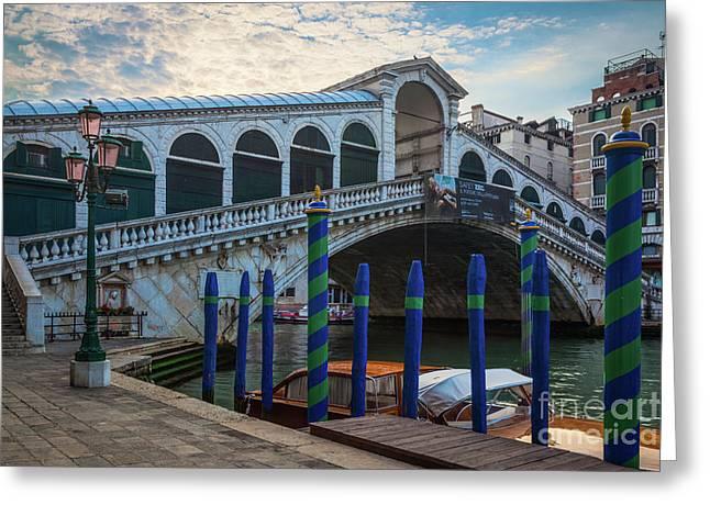 Ponte Rialto Dawn Greeting Card by Inge Johnsson