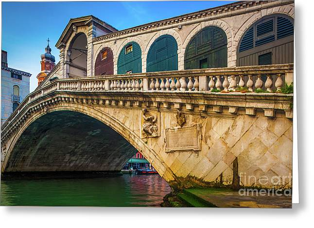 Ponte Rialto Greeting Card by Inge Johnsson