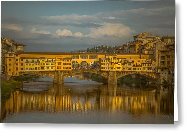 Ponte Vecchio As The Sun Sets Greeting Card by Chris Fletcher