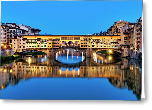 Greeting Card featuring the photograph Ponte Vecchio At Night by Fabrizio Troiani