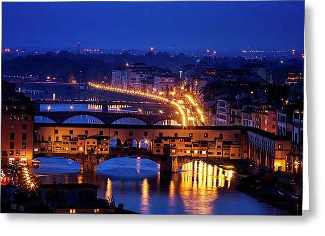 Ponte Vecchio At Twilight Greeting Card by Andrew Soundarajan