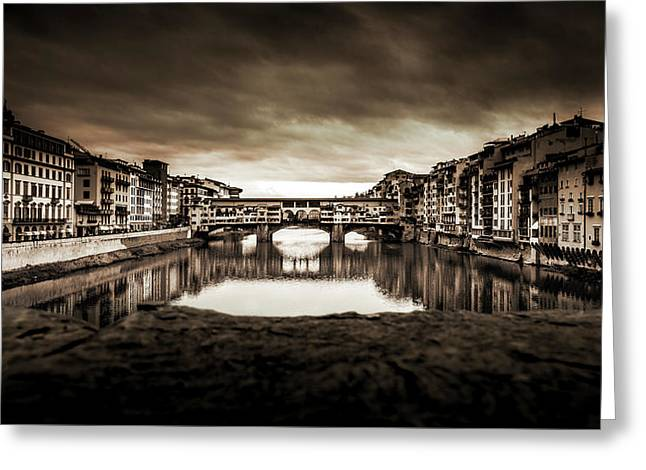 Ponte Vecchio In Sepia Greeting Card by Sonny Marcyan