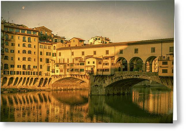 Greeting Card featuring the photograph Ponte Vecchio Morning Florence Italy by Joan Carroll