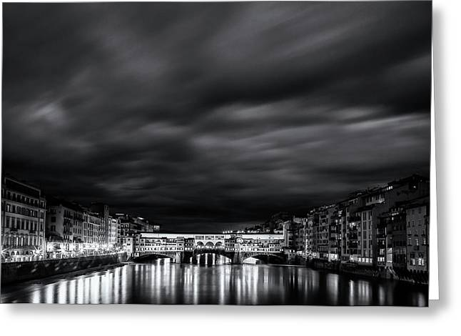Ponte Vecchio Reflections Greeting Card by Andrew Soundarajan