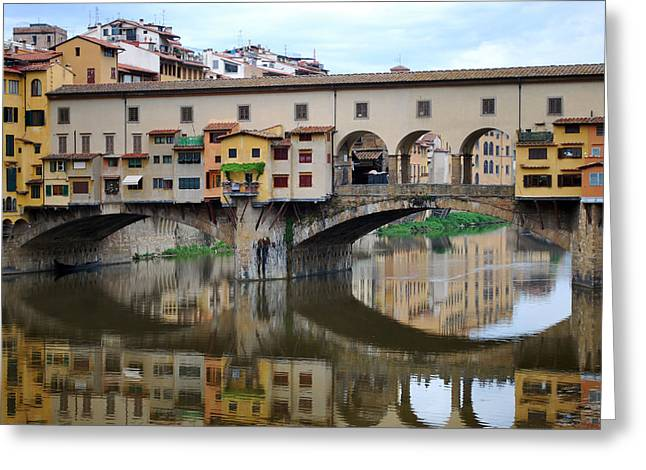Ponte Vecchio Reflects. Greeting Card by Terence Davis