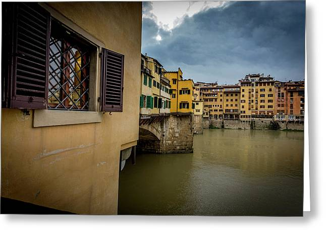 Ponte Vecchio Greeting Card by Sonny Marcyan