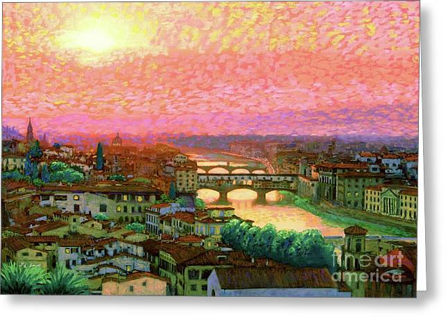 Ponte Vecchio Sunset Florence Greeting Card