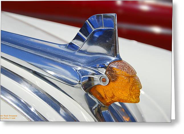 Cars Photographs Greeting Cards - Pontiac Hood Ornament Greeting Card by Larry Keahey