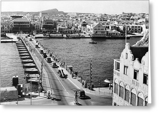Pontoon Bridge In Curacao Greeting Card by Underwood Archives