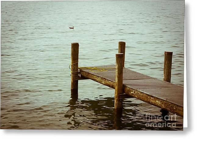 Pontoon On Lake Geneva. Greeting Card by Bernard Jaubert