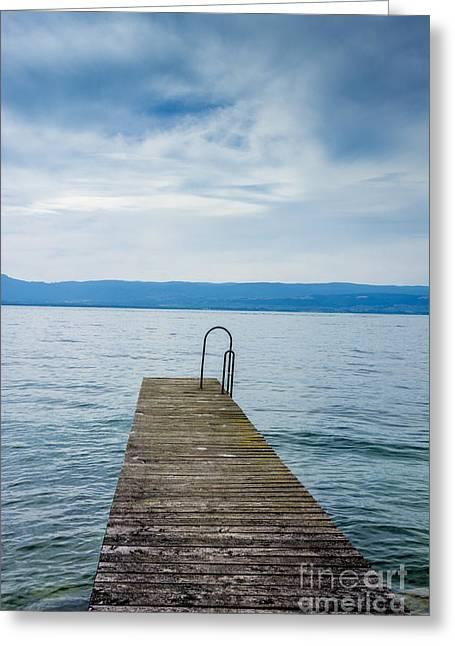 Pontoon On Lake Geneva. Haute-savoie. France. Greeting Card by Bernard Jaubert