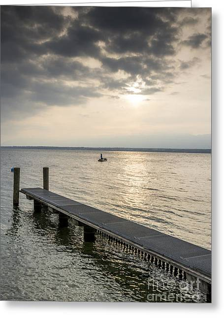 Pontoon On The Lake Of Geneva At Sunset Greeting Card