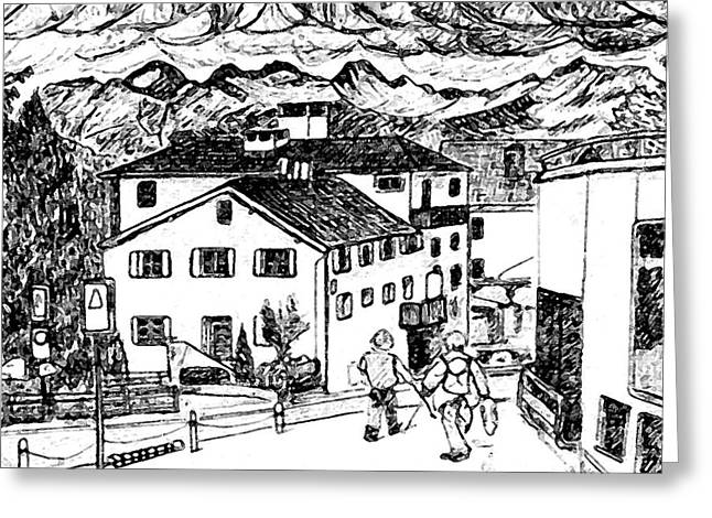 Pontresina Switzerland Greeting Card by Monica Engeler