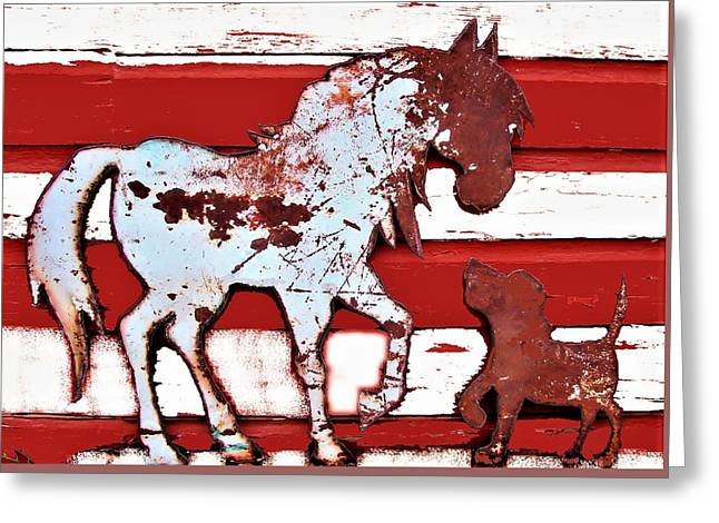 Pony And Pup Greeting Card by Larry Campbell