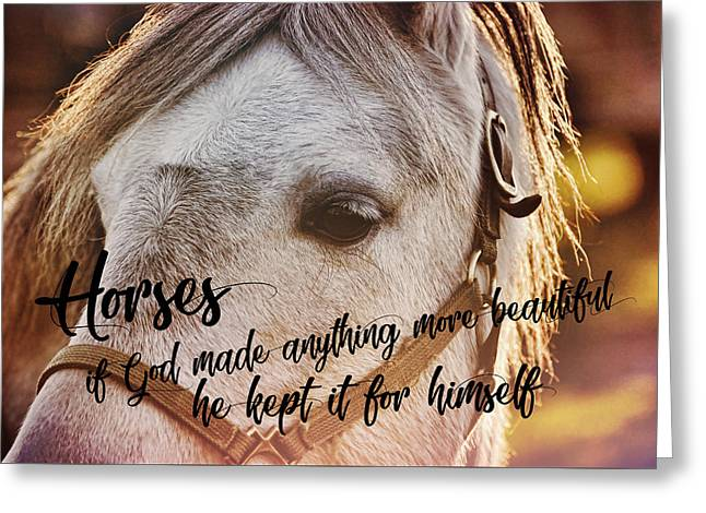 Pony At Sunset Quote Greeting Card by JAMART Photography