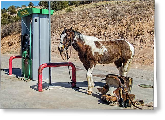 Greeting Card featuring the photograph Pony At The Pump by Britt Runyon