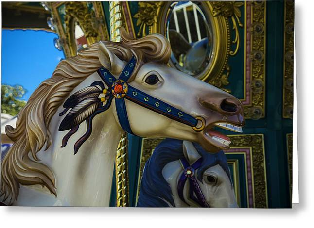 Pony Carrsouel Portrait Greeting Card by Garry Gay