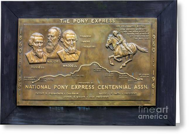 Pony Express Brass Plaque Greeting Card