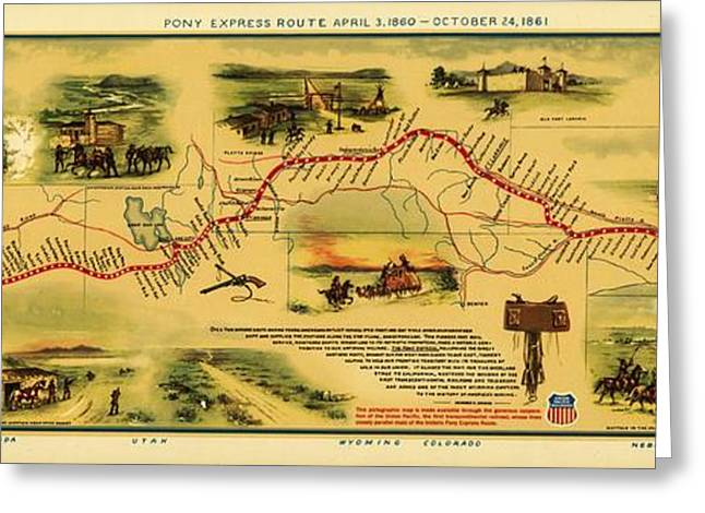 Pony Express Map Greeting Card by Pg Reproductions