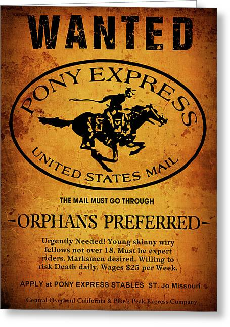 Pony Express Wanted Poster Greeting Card