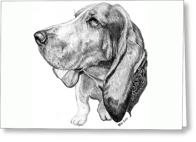 Greeting Card featuring the drawing Pooch by Mike Ivey
