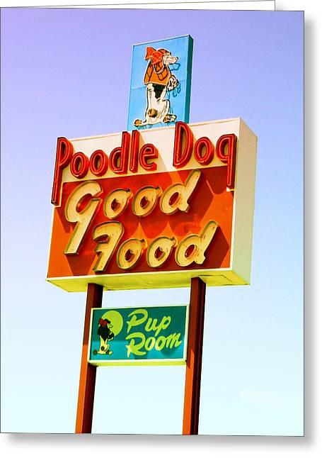Poodle Dog Diner Greeting Card by Kathleen Grace