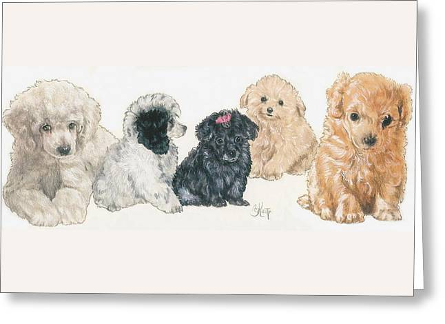 Poodle Puppies Greeting Card by Barbara Keith