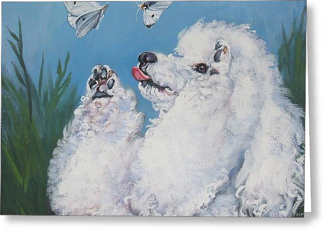 Poodle With Butterflies Greeting Card by Lee Ann Shepard