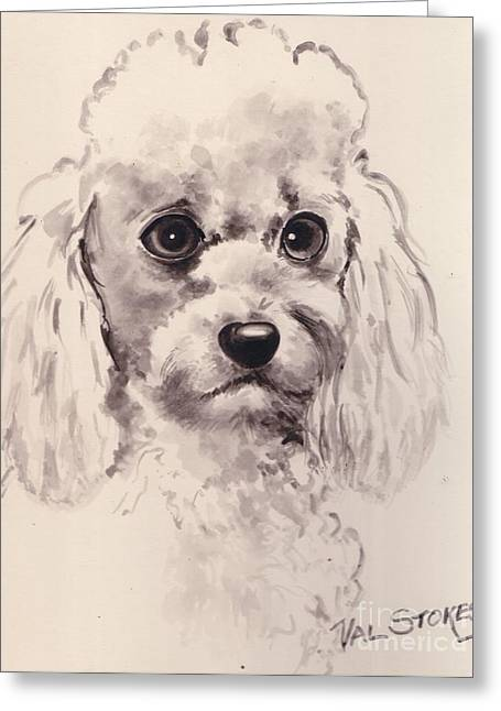 Poodlepup Greeting Card by Val Stokes