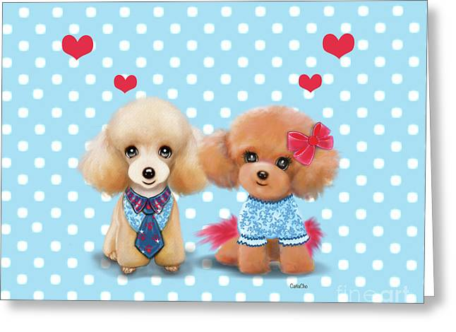 Greeting Card featuring the painting Poodles Are Love by Catia Lee