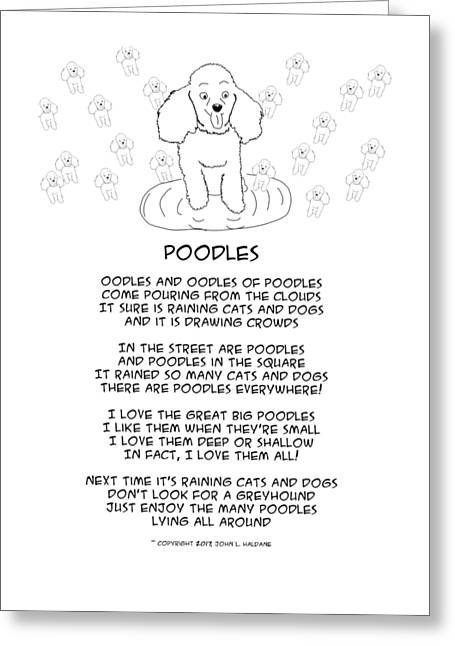 Greeting Card featuring the drawing Poodles by John Haldane