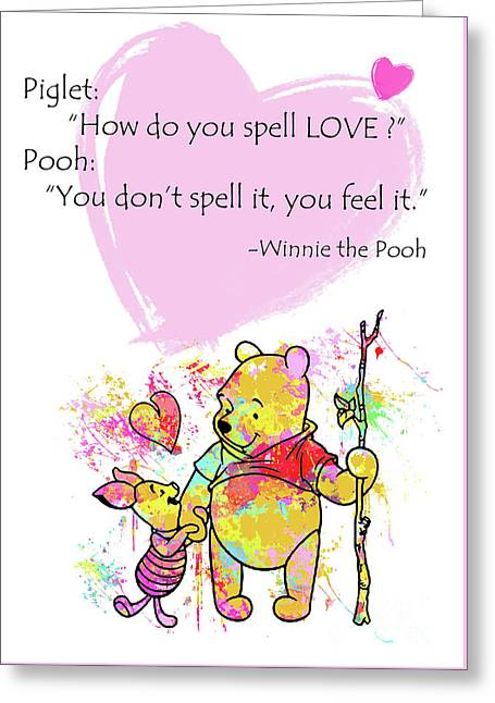 Pooh -  Spell Love... Greeting Card by Prar Kulasekara