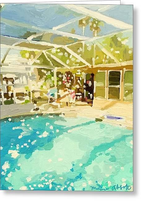 Pool And Screened Pool House Greeting Card