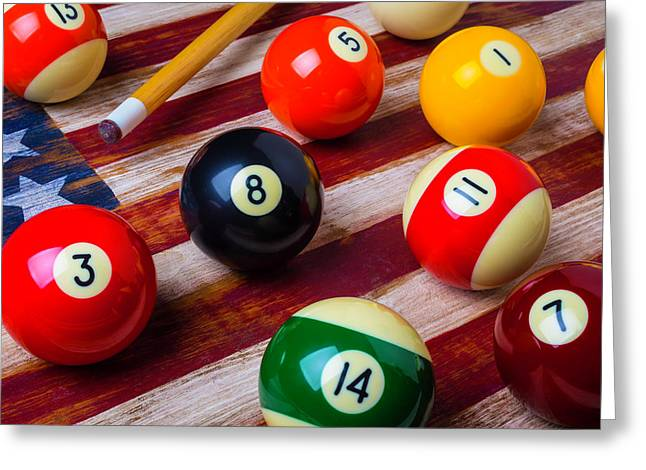 Pool Ball On American Flag Greeting Card by Garry Gay