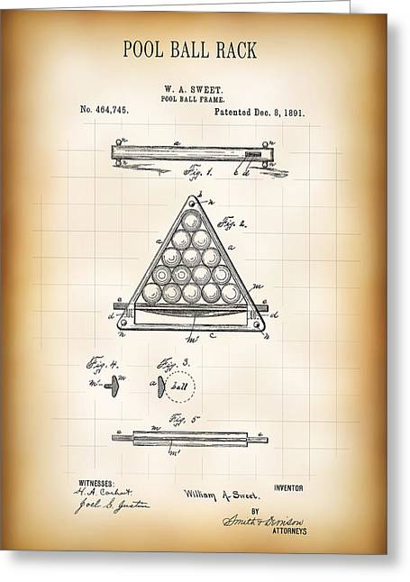 Pool Ball Rack Patent 1891 Greeting Card