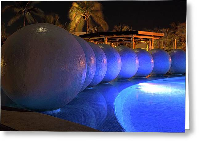 Pool Balls At Night Greeting Card by Shane Bechler