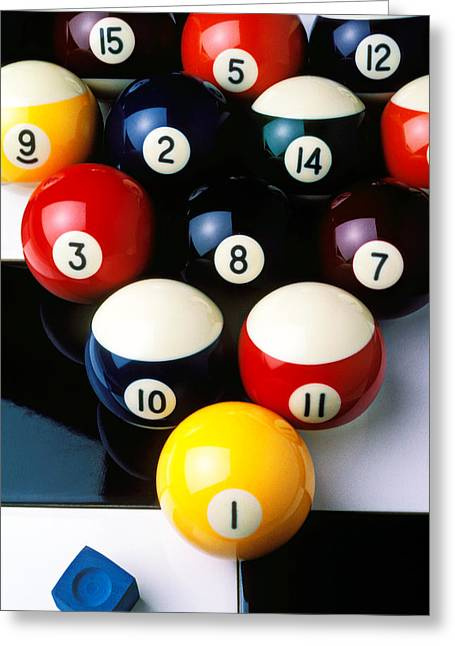 Competition Photographs Greeting Cards - Pool balls on tiles Greeting Card by Garry Gay