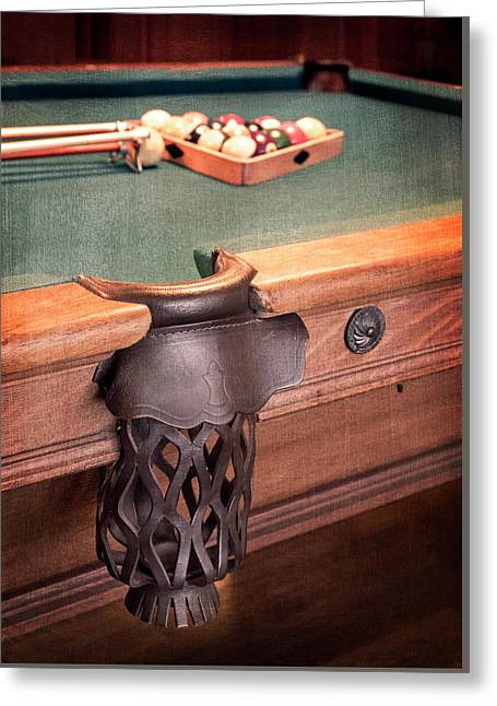 Pool Table Leather Mesh Side Pocket Greeting Card