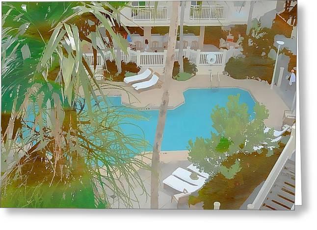 Pool View Greeting Card by Karen Matthews