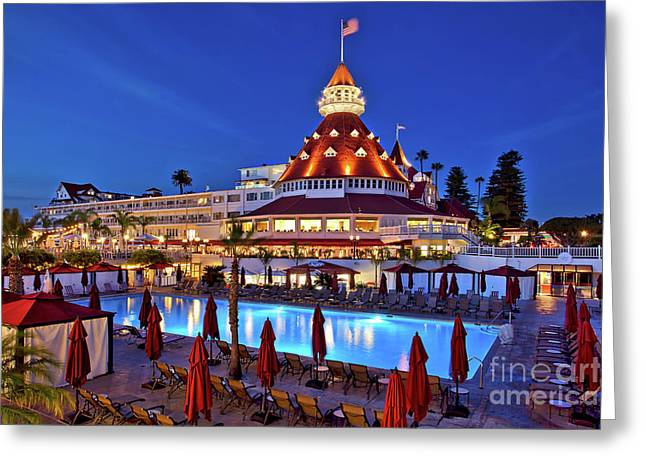 Poolside At The Hotel Del Coronado  Greeting Card