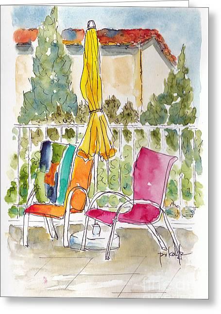 Poolside Mas St Antoine Greeting Card by Pat Katz