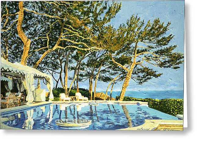 Poolside Sunset - Monaco Greeting Card by David Lloyd Glover