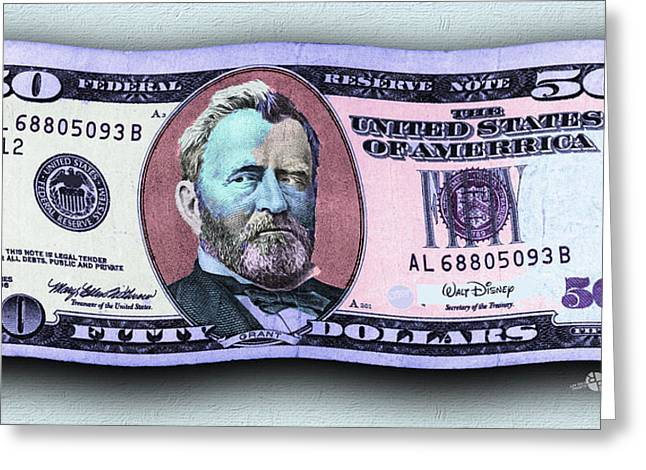 Pop 50 Dollar Bill In The Wind Purple Blue Greeting Card