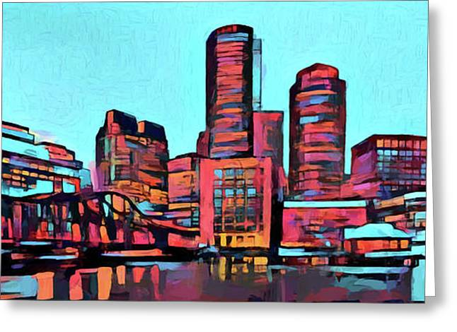 Pop Art Boston Skyline Greeting Card by Dan Sproul