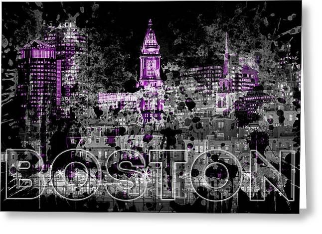 Pop Art Boston Skyline - Purple Greeting Card