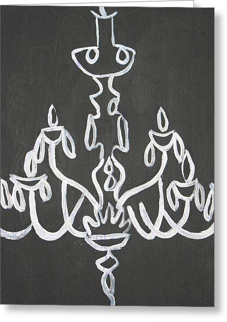 Pop Art Chandelier Paintings-black And White Greeting Card by Mikayla Ziegler