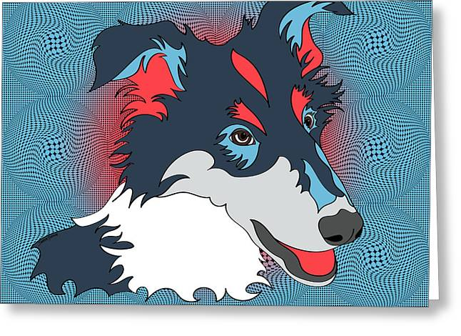 Pop Art Collie - Dog Art - Wpap  Greeting Card by SharaLee Art