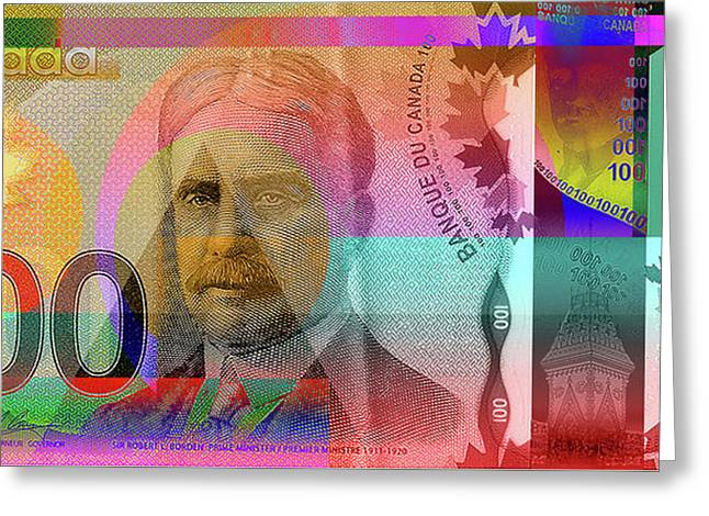 Pop-art Colorized New One Hundred Canadian Dollar Bill Greeting Card by Serge Averbukh