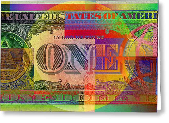 Pop-art Colorized One U. S. Dollar Bill Reverse Greeting Card by Serge Averbukh