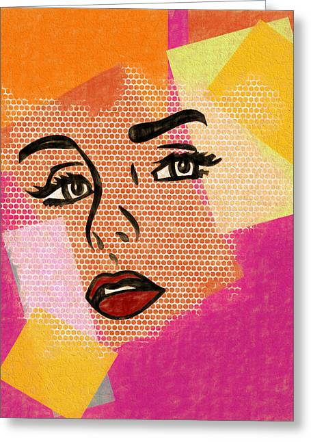 Greeting Card featuring the mixed media Pop Art Comic Woman by Dan Sproul